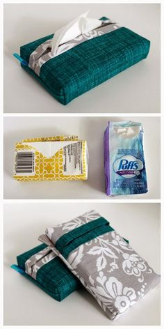 Pocket Tissue Pack Cover   Tutorial for sewing a self-binding Tissue Pack Cover with a vertical OR horizontal opening.   The Inspired Wren