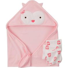 Child Of Mine Made By Carter's Newborn Baby Girl Towel And Washcloth 4-Piece Set
