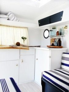 I love the idea of a nautical caravan remodel