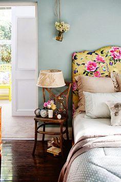 rustic cabin bedroom, ball jar vase, chair side table