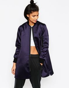 Longline Bomber in Satin Fabric