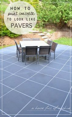 A house full of sunshine: Backyard Makeover! How to paint concrete to look like oversize pavers. You will not believe the before and after photos!