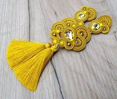 Yellow Gold Tassel Earrings, Long Clip on Earrings with Crystals, Soutache Earrings, Sparkling Tassel Earrings Gold Tassel Earrings, Soutache Earrings, Etsy Earrings, Clip On Earrings, Sterling Silver Earrings, Clean Gold Jewelry, Gold Jewellery, Jewellery Making, Selling Jewelry