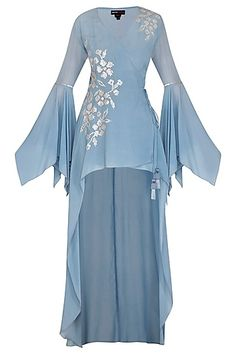 Featuring a sky blue top in crepe base with long back and hand embroidery on the front. Party Wear Indian Dresses, Designer Party Wear Dresses, Indian Fashion Dresses, Kurti Designs Party Wear, Dress Indian Style, Indian Designer Outfits, Simple Pakistani Dresses, Pakistani Bridal Dresses, Pakistani Dress Design