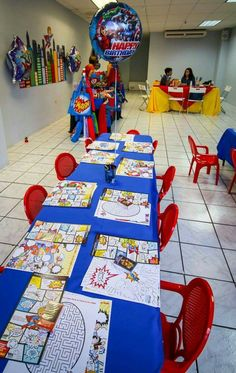 My baby Armando Jorge's Superhero #3 Birthday Party. Avengers + Justice League. Cake, decoration, candy bar, cookies, goodie bags, comic, favors and fun. Table with coloring activities.