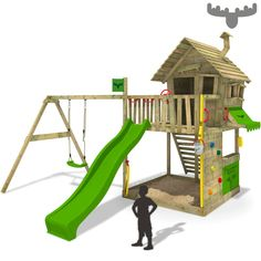 Nice FATMOOSE GroovyGarden Combo XXL Spielturm Baumhaus Schaukel Rutsche Garten Holz in Spielzeug Spielzeug f r drau en