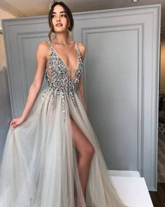 Long Backless Grey Sexy Dresses with Slit Rhinestone See Through Prom Dress Grey Prom Dress, Prom Dress Sexy, Prom Dress Backless, Prom Dresses Prom Dresses 2019 Split Prom Dresses, Grey Prom Dress, Backless Prom Dresses, Prom Dresses Online, Women's Dresses, Cute Dresses, Beautiful Dresses, Evening Dresses, Dress Online