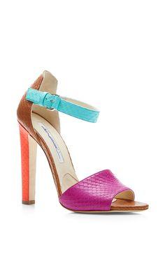 Iosy Color-Block Snakeskin Sandals by Brian Atwood - Moda Operandi