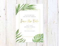 Tropical Save the Date, Hawaii Save the Date, Palm Leaves Save the Date, Destination Wedding Save the Date - matilda Wedding Invitation Samples, Save The Date Invitations, Invitation Envelopes, Save The Date Cards, Party Invitations, Wedding Stationary, Destination Wedding Save The Dates, Our Wedding, Wedding Ideas