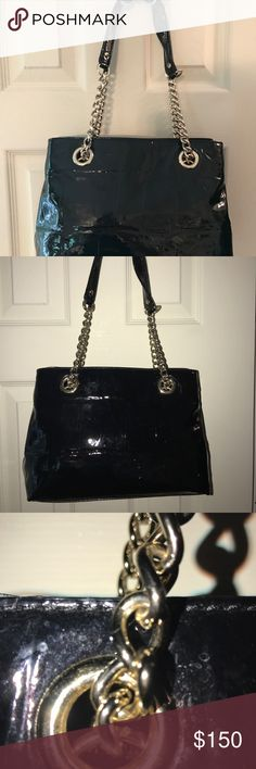 🎉SALE🎉 Kate Spade Black Patent Leather Satchel Excellent condition beautiful Black Patent Leather Satchel with silver chain handles. Clean interior with ample compartments and pockets. kate spade Bags Satchels