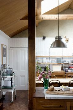 kitchen, white and stained wood