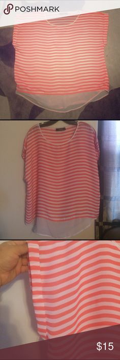 Short sleeve striped blouse Coral & white striped top with short sleeve a.n.a Tops Blouses