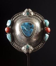 Tibet | Old female hair accessory; silver, coral and turquoise. H:  10 cm | Est. 1'800 - 2'000€ ~ (Feb '14)