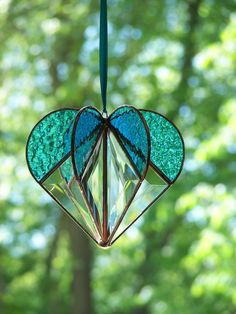 Stained Glass Heart Turquoise, Stained glass suncatcher, Heart Ornament,Bevel…