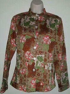 Women's British Khaki blazer light jacket floral size 6 cotton
