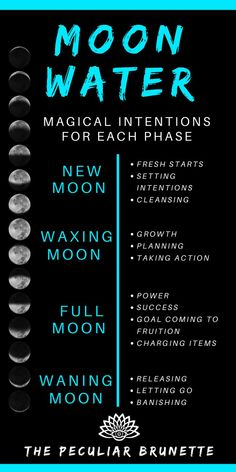 Moon water intentions How To Make Moon Water Witch Spell Book, Witchcraft Spell Books, Magick Spells, Green Witchcraft, Healing Spells, Spells For Beginners, Witchcraft For Beginners, New Moon Rituals, Full Moon Ritual