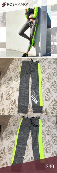 VS PINK neon green and gray gym pants size XS Good used condition . PINK Victoria's Secret Pants