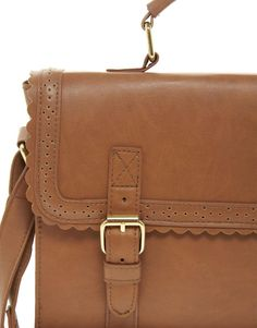 Brown Scalloped Trim Leather Satchel