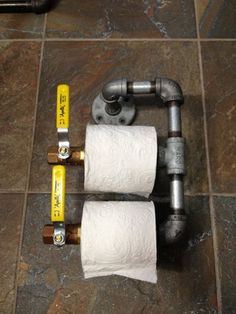 Galvanized Pipe Dual Roll Toilet Paper Holder - Great for a man's bathroom