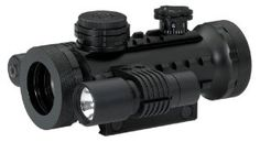 """BSA 30-mm Stealth Tactical Rifle Scope with Illuminated Red, Green and Blue Dot, Laser and Flashlight by BSA Optics. $119.99. Laser and flashlight included. Multi-purpose """"Twist-Cap"""" technology. Red, green and blue interchangeable illuminated dots. 5/8-inch weaver style rail. BSA illuminated dot sight Objective ring twists to adjust brightness Red, green or blue dot 30mm objective lens Integral Weaver mount 68' field of view @ 100 yds 50 yds parallax setting Unli..."""