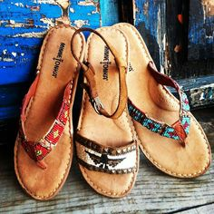 Beaded flat sandals.