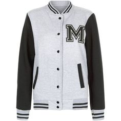 Parisian Grey M Print Baseball Jacket (215 NOK) ❤ liked on Polyvore featuring outerwear, jackets, pattern jacket, grey jacket, gray jacket, pocket jacket and long sleeve jacket