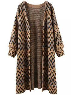 Shop Khaki Black Long Sleeve Zigzag Knit Cardigan online. SheIn offers Khaki Black Long Sleeve Zigzag Knit Cardigan & more to fit your fashionable needs.