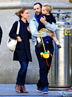Natalie Portman and hubby Benjamin Millepied take son Aleph for a stroll in NYC's Flatiron District