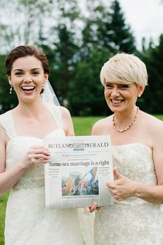 LGBT wedding idea: The brides held a paper commemorating new marriage laws.