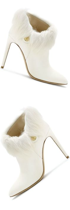 Ralph Lauren Collection Suede Tadine Bootie (suede bootie with shearling trim and gold-toned button accent)  iw