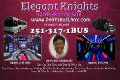 Get On The Bus, And Party With Us For Prom 2017 Be the rage of the Prom, and make an impressive entrance with your closest friends by arriving in Elegance onboard Elegant Knights Limo-Party Bus, the trendiest, stylish, and most Elegant transportation service in town. We encourage you to contact us to discuss our rates and to secure transportation.Call us directly at 251-317-1BUS to make reservations. A $100 non-refundable deposit is required to confirm your reservation via debit or credit…