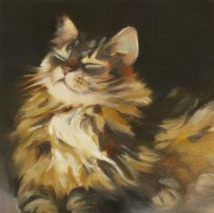"""Daily Paintworks - """"Cat Bliss"""" by Pamela Poll"""