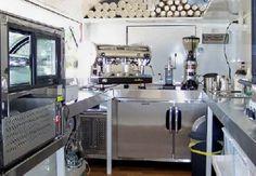 inside coffee trailer