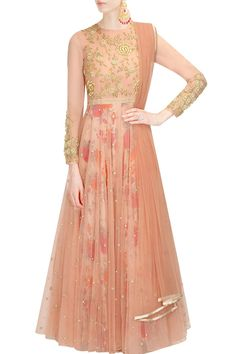 Blush pink floral work overlayered anarkali suit available only at Pernia's Pop Up Shop.
