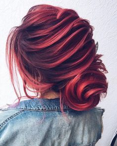 Red, Auburn hair color // wedding hair style /