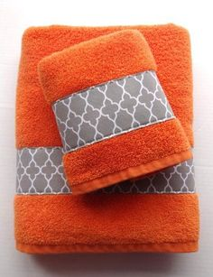 Orange And Grey Orange And Grey Bathroom Towels By AugustAve - Orange patterned towels for small bathroom ideas