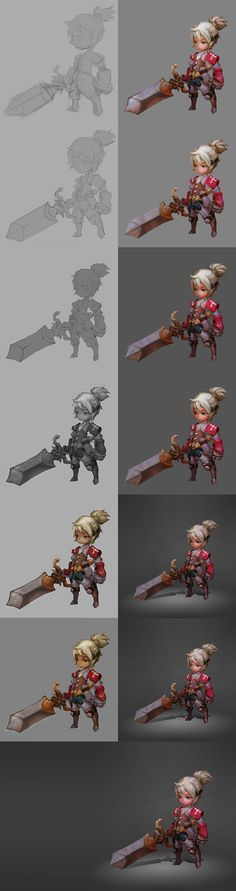 Pc Drawing, Drawing Process, Painting Process, Process Art, Digital Painting Tutorials, Digital Art Tutorial, Art Tutorials, Concept Art Tutorial, Game Concept Art