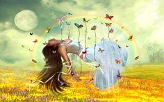 Fantasy Women  Butterfly Girl Woman Fantasy Wallpaper