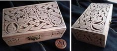 """""""magic the gathering"""" carved box with celtic knotwork"""
