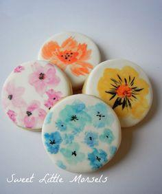 1 Dozen Mini (12) Sugar Cookies - Watercolor Blooms Collection