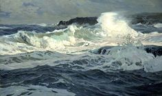 Frederick Judd Waugh - America (1861 - 1940), Marine Landscape Artist, oil (waves, sea, ocean, rocks, water)