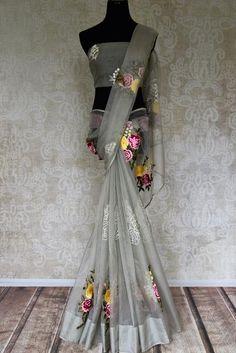 Buy Grey Organza Saree with Embroidered Floral Motifs Online in USA Cotton Saree Designs, Saree Blouse Neck Designs, Saree Blouse Patterns, Dress Patterns, Trendy Sarees, Stylish Sarees, Fancy Sarees, Saree Draping Styles, Saree Styles