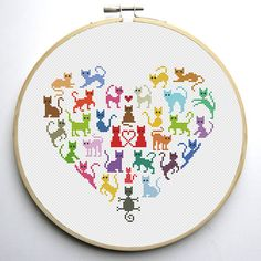 Heart and Cats 2 is a pattern, not the completed work. I designed it myself. On 14-count aida the design measures 7.8w X 7.1h inches. 110w X 100h Stitches Sizes will change with count size. Design used 1 DMC thread colors. This pattern allows you the freedom to pick your own fabric and floss color. This pattern is in PDF format and consists of a floss list, and a color symbol chart. If you have any questions about this pattern, please ask me. I will contact you with any further instruct...