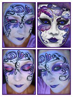 Purple Zen Painting, Mask Painting, Fae Face, Chinese Opera Mask, Venitian Mask, Mask Face Paint, Enchanted Fairies, Venetian Carnival Masks, Mask Tattoo