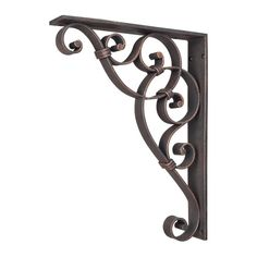 Home Decor MCOR9-DBAC Metal (Iron) Scrolled Bar Bracket with Knot Detail - Dark Brushed Antique Copper cabinetconnectionofnc.com