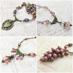Romantic, vintage inspired necklaces #necklaces #romantic #jewelry #vintagestyle Purple Necklace, Unique Gifts, Handmade Gifts, Handmade Necklaces, Vintage Inspired, Vintage Fashion, Bronze, Romantic, Trending Outfits