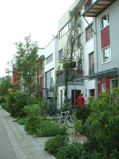 Fribourg - Citée Vauban - pieds d'immeuble jardinés