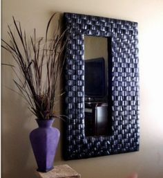 Mirror made with #upcycled #Bicycle tubes