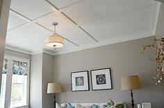 DIY Blogger House in Utah: board and batten treatment on the ceiling for the look of a coffered ceiling, but on the cheap!