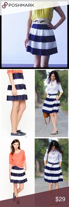 j. crew // wide awning stripe mini skirt Show off your stripes with this cute rugby strips mini skirt. The navy and white combo gives it the perfect nautical flair. From J. Crew Factory (modeled photos are the retail version which is going to look very similar to the Factory). Polyester. Side zip. Great condition. Love the pockets! ⭐️ Reduced from $29. J. Crew Skirts Mini